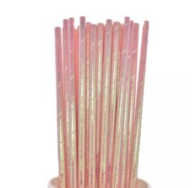 Parelmoer roze rietjes