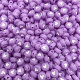 Fluor paarse hartjes 7 mm 50 stuks