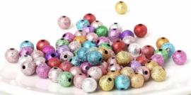 Multi glitter kralen 8 mm 50 stuks