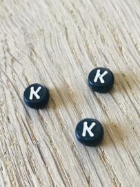10 x letter K ROND ZWART