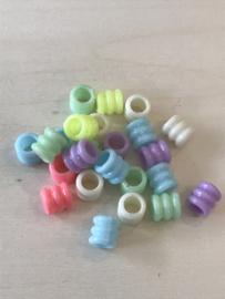 Buisjes pastel multi 7x6 mm 25 stuks
