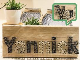 Stoere  (steiger) houten naam wandbord
