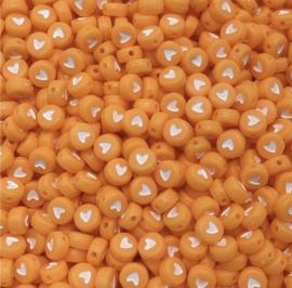 Fluor oranje hartjes 7 mm 50 stuks