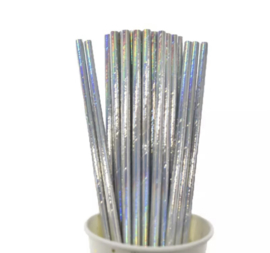 Parelmoer zilver rietjes