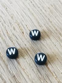 10 x letter W ROND ZWART
