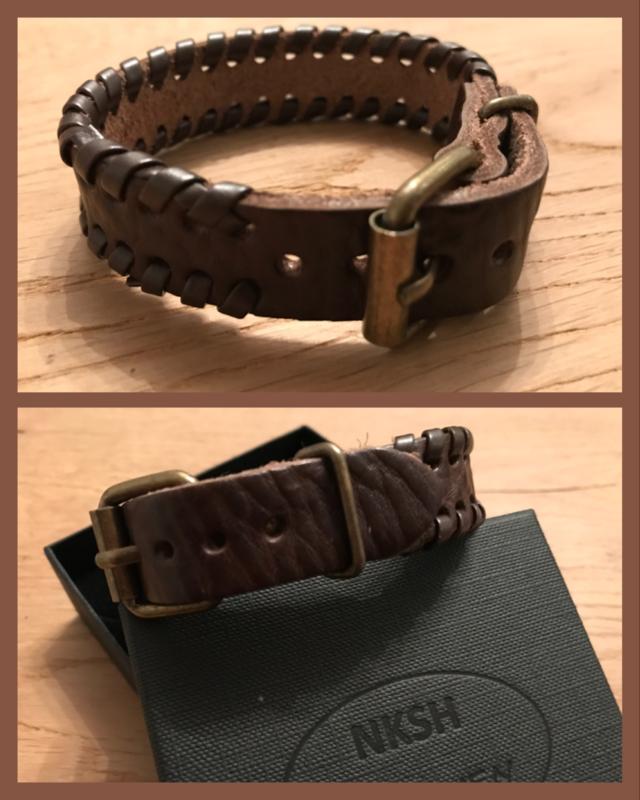 Lederen armband unisex Bruin