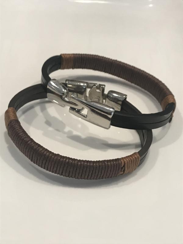 Unisex Armband leder met metaal BRUIN of ZWART