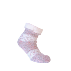 Huissokken - EXTRA WARM - ANTI SLIP - Roze mix