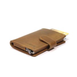 aluminium cardprotector  - MINI WALLET - LEER - FIGURETTA - kaki