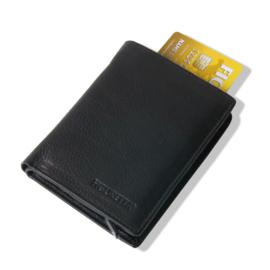 aluminium cardprotector - WALLET - LEER - FIGURETTA - Zwart