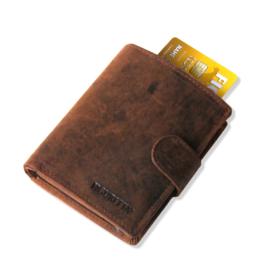 aluminium cardprotector - WALLET - LEER - FIGURETTA - bewerkt bruin