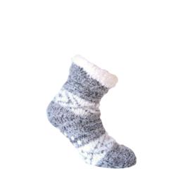 Huissokken - EXTRA WARM - ANTI SLIP - grijs