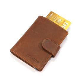 aluminium cardprotector  - MINI WALLET - LEER - FIGURETTA - bruin