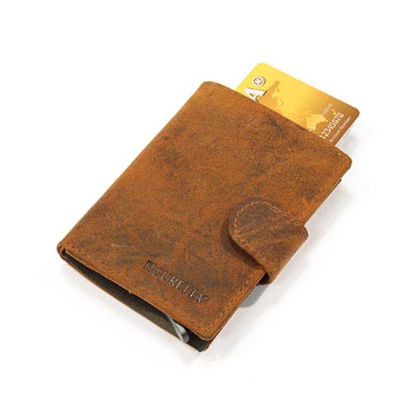 aluminium cardprotector  - MINI WALLET - LEER - FIGURETTA - bewerkt bruin