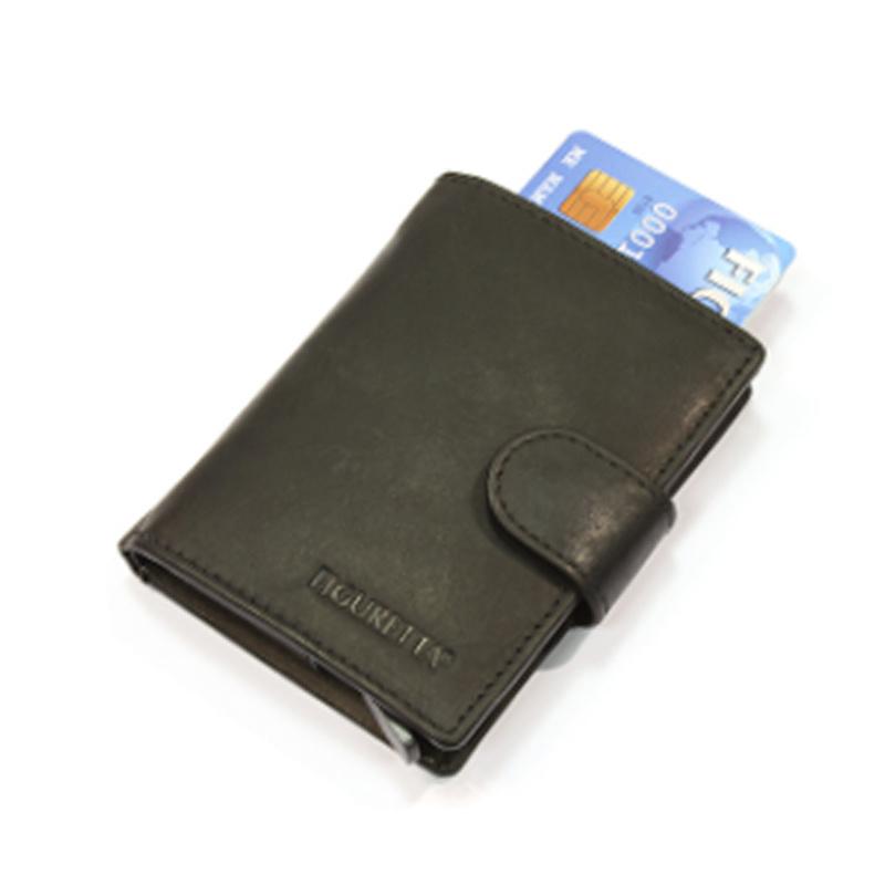 aluminium cardprotector - MINI WALLET -  LEER - FIGURETTA - zwart