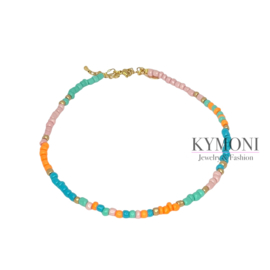 Mily turquoise/oranje ketting