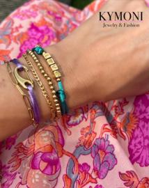 Set paars groen gold armbanden