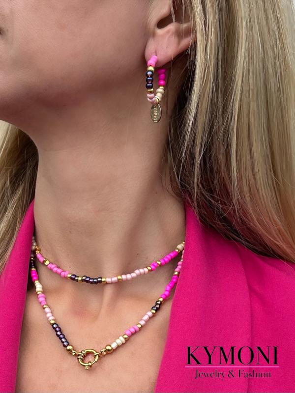 Mily roze oorbellen & kettingen