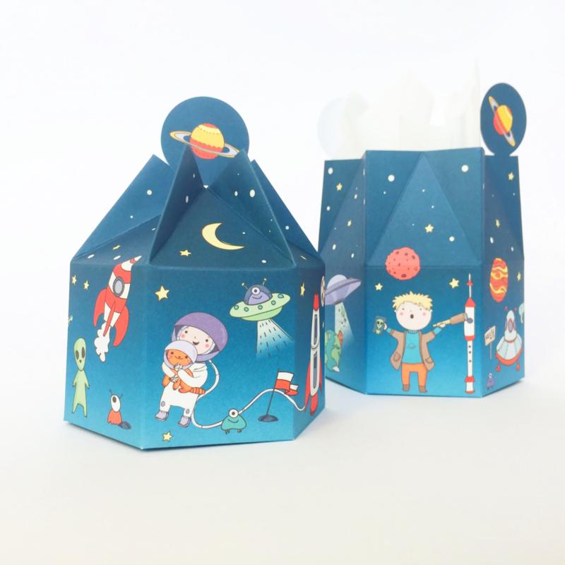 Astronaut thema - Uitdeeldoosjes - set 6 stuks