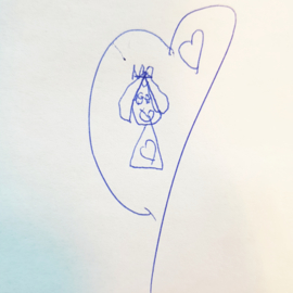 Sleutelhanger 2 kindertekeningen | RVS dogtag | Beide kanten tekening