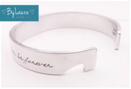 Tekstarmband - SET van 2 armbanden, de halve hartjes vormen samen 1