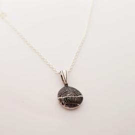 Herdenkingssteen zilver met vingerafdruk