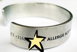 Medische informatie armband taps met steentje (bedel) | Aluminium