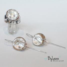 Zilveren ring met parel | ringmaat 18