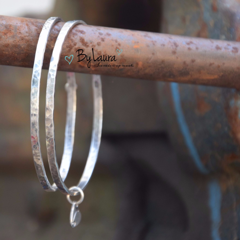 Bangle, 3mm breed,  zilver .925