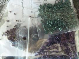 Basket Weave Bangle - Kleuren : Paars -Groen