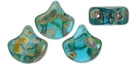 Matubo Ginko bead - T60020 Aquamarine Picasso
