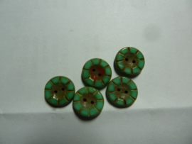Table Cut Button- Opaque Green Turquoise Travertine 49344
