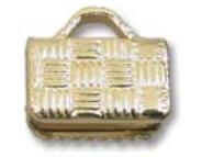 Flat Crimp End Gold Plate- 8mm