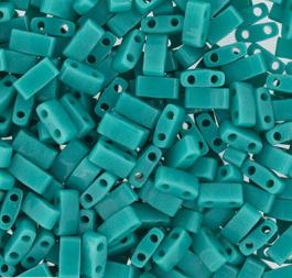 Half Tila Bead 0412- Opaque Turquoise Green