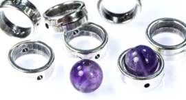 1-Hole Halo Beads  Antique Silver - 23