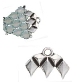 Gem-Duo Bead Ending Antique Silver -012433sp