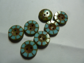 Table Cut Button - Opaque Blue Turquoise Travertine