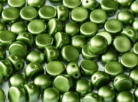 2-Hole Cabochon Beads 6mm- Pastel Olivine 25034