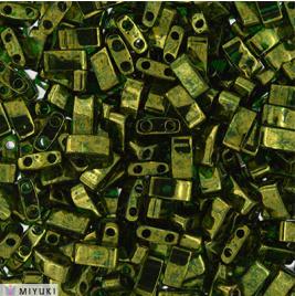 Half Tila Bead 0306- Olive Green Gold Luster