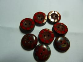 Table Cut Button - Opaque Red Travertine 49336