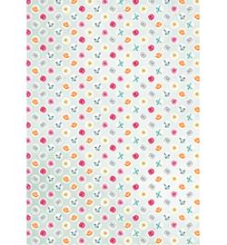 Achergrondpapier A4- flowers&butterflies
