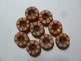 Table cut Button- Opaque Rose Swirl 49350