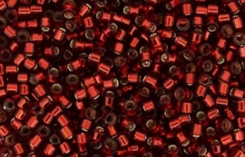 Miyuki Delica Bead -133 Silverlined red