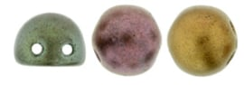2 Hole Cabochon Beads- K0164 Matte Metallic Bronze/Iris
