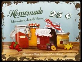 Metaalplaat Homemade Marmelade, jam, honey