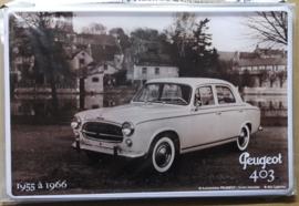 Metaalplaat Peugeot 403 1955-1966