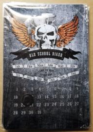 Metaalplaat Harley Davidson Old Skool Biker kalender