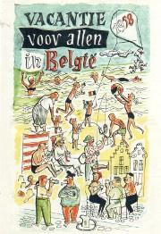Metalen Postkaart Vacantie voor allen in België 1958