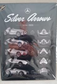 Metaalplaat Mercedes Silver Arrows 30x40cm in reliëf