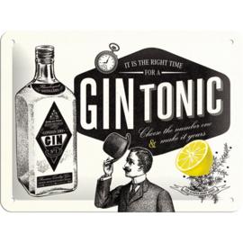Metaalplaatje Gin Tonic